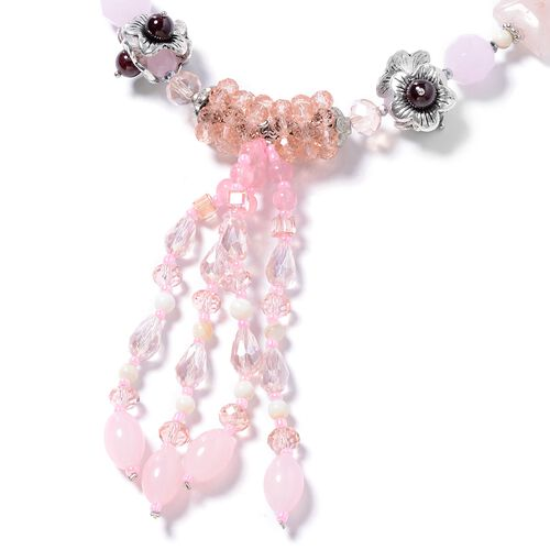 Rose Quartz, Indian Garnet, White Shell, Simulated Pink Sapphire, Simulated Grey Moonstone and Multi Colour Beads Necklace (Size 24 with 2.50 inch Extender) in Silver Plated