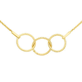 Italian Made 9K Yellow Gold Diamond Cut Rings Omega Necklace (Size 16 with 2 Inch Extender), Gold wt