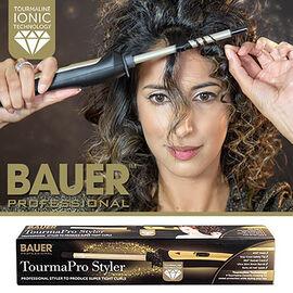 Bauer Tourma Pro Styler with Tourmaline Ceramic Barrel for Frizz Free Curls