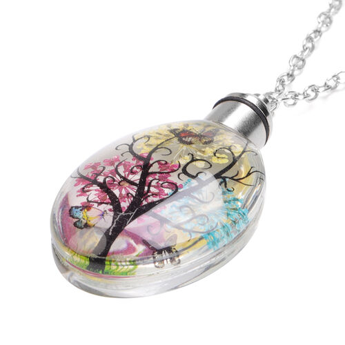 Set of 5 - Dried Flower LED Pendant with Chain (Size 27 with extender) in Stainless Steel