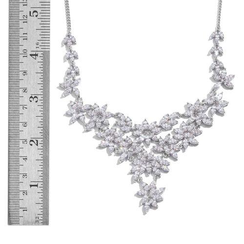 J Francis - Platinum Overlay Sterling Silver (Mrq) Necklace (Size 18) Made with SWAROVSKI ZIRCONIA