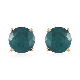 9K Yellow Gold Grandidierite (Rnd) Stud Earrings (with Push Back) 2.00 Ct.