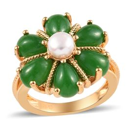 Green Jade (Pear), Freshwater Pearl Floral Ring (Size V) in 18K Yellow Gold Plated 6.25 Ct.