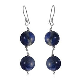 Sodalite Hook Earrings in Sterling Silver 40.28 Ct.