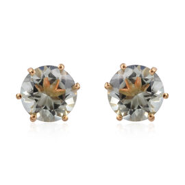 Green Amethyst (Rnd) Earrings (with Push Back) in 14K Gold Overlay Sterling Silver 3.500 Ct.