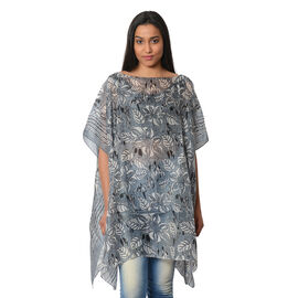 100% Mulberry Silk Kaftan One Size (90x100 Cm) -  Grey