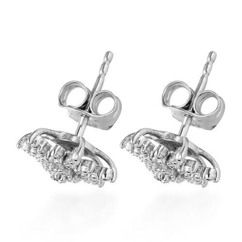 Back By Popular Demand-Diamond Starburst Stud Earrings (with Push Back) in Platinum Overlay Sterling Silver