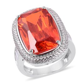 Simulated Padparadscha Sapphire (Cush 19x12 mm),Simulated Diamond Ring in Silver Plated