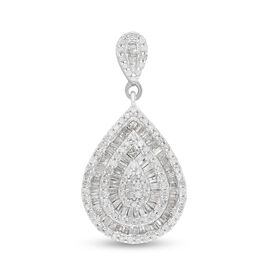 One Time Deal- Diamond Tear Drop Pendant in Platinum Overlay Sterling Silver 1.00 Ct.