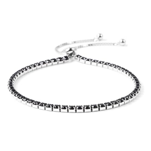 Lustro Stella Simulated Black Diamond (Rnd) Adjustable Bracelet (Size 6.5-8.0) in Rhodium Overlay Sterling Silver