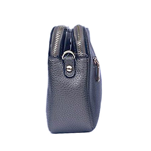 Kris Ana Triple Zipper Crossbody Bag (23x7x18cm) with Detachable Shoulder Strap- Gunmetal