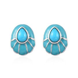 1.15 Ct Arizona Sleeping Beauty Turquoise Pear Stud Earrings in Platinum Plated Sterling Silver