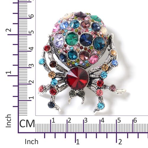 Multi Colour Simulated Diamond (Rnd), Multi Colour Austrian Crystal Spider Brooch in Silver Plated