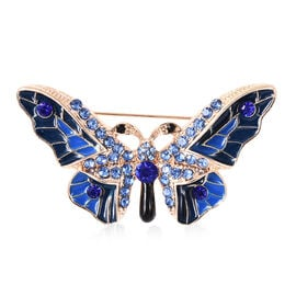 Blue and Black Austrian Crystal Enamelled Butterfly Brooch in Gold Tone