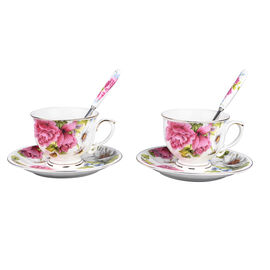 Set of 6 - European Cup Set with Flower Pattern in White and Pink Colour