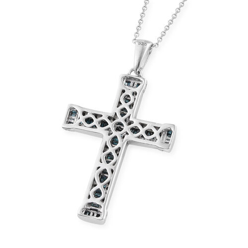 Blue Diamond (Rnd and Bgt) Cross Pendant With Chain (Size 20) in Platinum Overlay Sterling Silver  1.000 Ct.