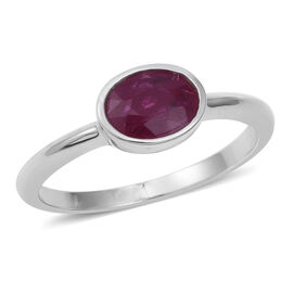 Signature Collection Burmese Ruby (Ovl 8x6 mm) Solitaire Ring in Rhodium Overlay Sterling Silver 1.000 Ct.