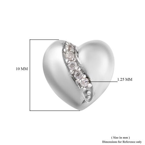 Natural Cambodian Zircon (Rnd) Heart Earrings (with Push Back) in Platinum Overlay Sterling Silver