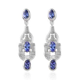 AAA Tanzanite Dangle Earrings in Platinum Overlay Sterling Silver 1.50 Ct.