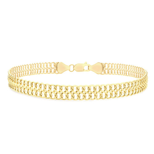 9K Yellow Gold Double Curb Bracelet (Size 7.5).