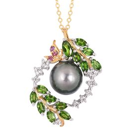 8.87 Carat Tahitian Pearl, Amethyst and Multi Gemstone Pendant with Chain in Rhodium Plated Silver