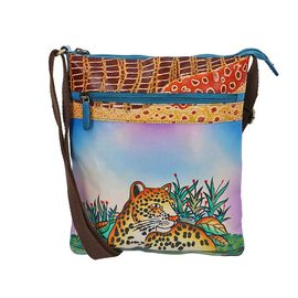 Leopard Queen of the Jungle Crossbody Bag with Adjustable Shoulder Strap (Size 26x29 Cm) - Blue