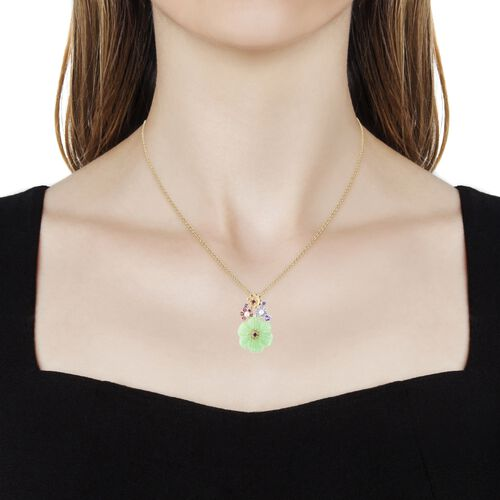 Carved Green Jade and Multi Gemstone Floral Pendant With Chain (Size 18) in Rhodium, Yellow and Rose Gold Overlay Sterling Silver 12.920 Ct.