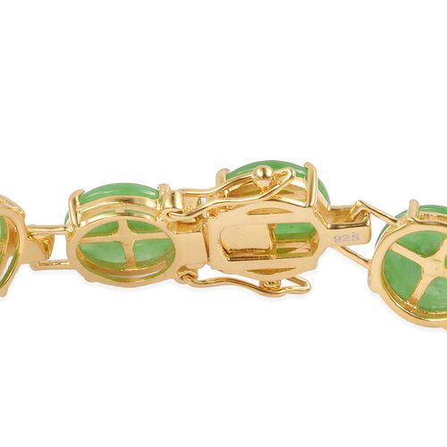 Green Jade and Natural White Cambodian Zircon Bracelet (Size 6.5) in Yellow Gold Overlay Sterling Silver 23.250 Ct. Silver wt 10.00 Gms.