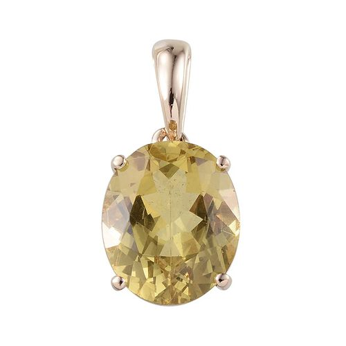 9K Y Gold Natural Madagascar Canary Apatite (Ovl) Solitaire Pendant 4.750 Ct.