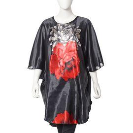 Designer Inspired - Peony Print Kaftan (Free size) - Black