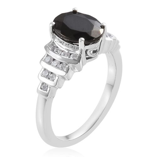Elite Shungite (Ovl 9x7mm), Natural Cambodian Zircon Ring in Platinum Overlay Sterling Silver 2.09 Ct.