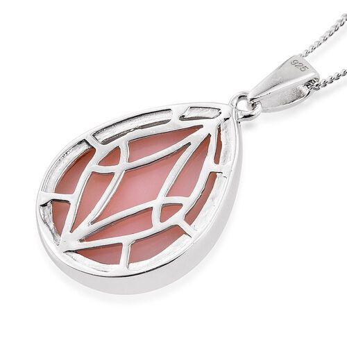 Natural Peruvian Pink Opal (Pear) Pendant With Chain in Platinum Overlay Sterling Silver 11.000 Ct.