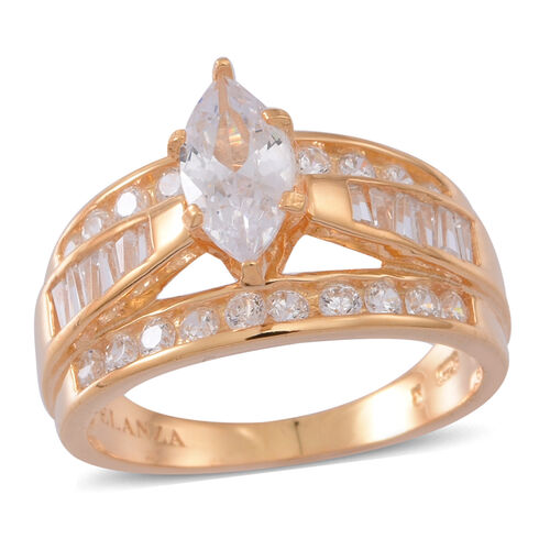 ELANZA Simulated Diamond (Mrq) Ring in Yellow Gold Overlay Sterling Silver