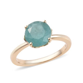 2 Carat AA Grandidierite Solitaire Ring in 9K Gold
