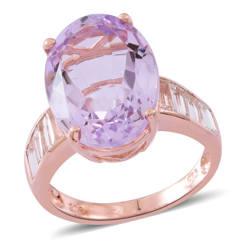 Rose De France Amethyst (Ovl 10.00 Ct), White Topaz Ring in Rose Gold Overlay Sterling Silver 11.600 Ct.