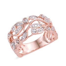 Diamond (Rnd) Leaves Ring in Rose Gold Overlay Sterling Silver, Silver wt 3.58 Gms.