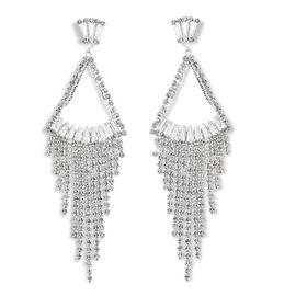 Simulated Diamond and White Austrian Crystal Waterfall Earrings in Silver Tone
