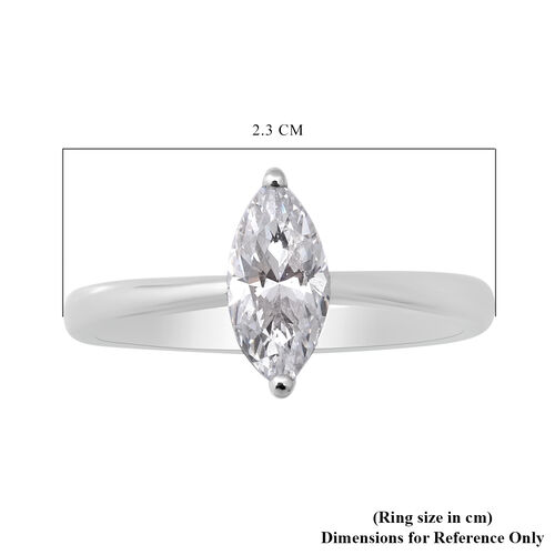 ELANZA Swiss Star Simulated Diamond Solitaire Ring in Rhodium Overlay Sterling Silver