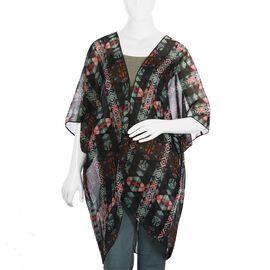 Black with Multi Colour Geometric Pattern Kimono (Size 81.28x88.9 Cm)