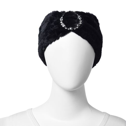 Bowknot Design Faux Fur Headband (Size 10x55 Cm) - Black
