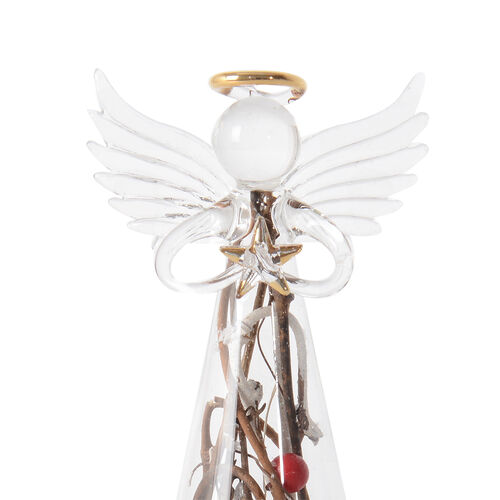 White Glass Angel with Red Berries, Winter Branches and Snow with LED Light (Size 21x9x9 Cm)