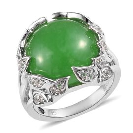 GP 11.50 Ct Green Jade and Multi Gemstone Ring in Platinum Plated Silver 6.17 Grams