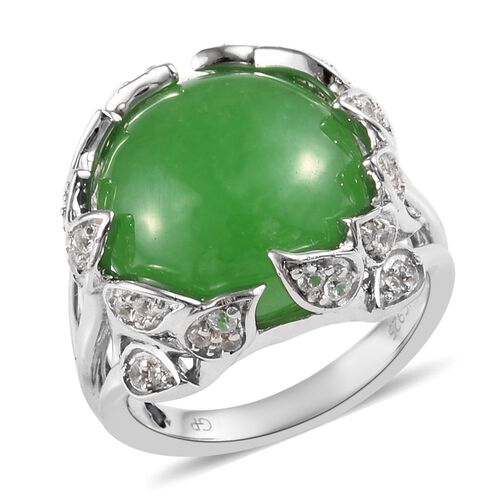 GP 11.50 Ct Green Jade and Multi Gemstone Ring in Platinum Plated Silver