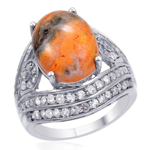 Designer Collection Bumble Bee Jasper (Ovl 8.25 Ct), White Topaz Ring in Platinum Overlay Sterling S