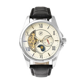 GENOA Automatic Mechanical Movement Skeleton White Dial Water Resistant Watch with Black Strap