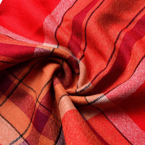 100% Wool Red, Grey and Multi Colour Checks Pattern Scarf with Tassels (Size 200X65 Cm)