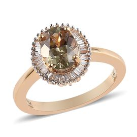 ILIANA 18K Y Gold 100% Natural AAA Turkizite (Ovl 8x6mm) and Diamond (SI/G-H) Ring 1.50 Ct., Gold wt