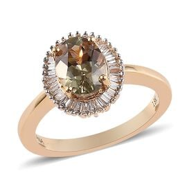 ILIANA 1.50 Ct Natural AAA Turkizite and Diamond Halo Ring in 18K Gold 4.50 Grams SI GH