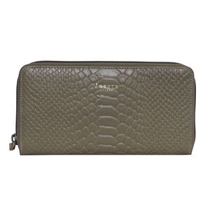 Assots London HAZEL Python Embossed Genuine Leather Zip Around Purse (Size 20x2x10 Cm) - Olive Green (Navigation Fashion Accessories Handbags) photo
