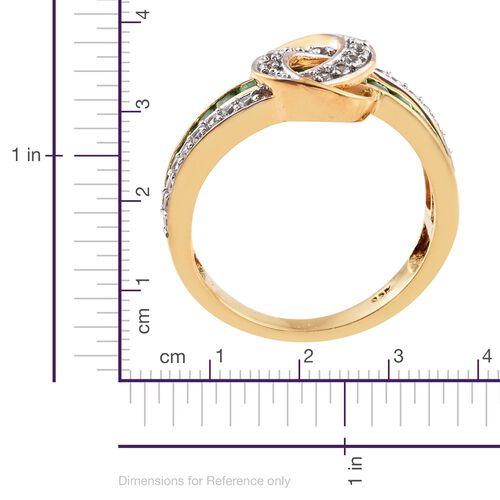 Kagem Zambian Emerald (0.75 Ct),Cambodian Zircon 14K Gold Overlay Sterling Silver Ring  1.250  Ct.